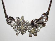 "Vintage Signed TRIFARI ""Star Flower"" 1951 Clear Rhinestone Necklace A. Philippe"