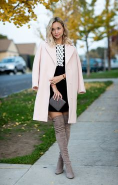 look_lateafternoon #coat #pink #pinkcoat #dress #bag #clutch #shoes #boots #overthekneeboots #suedeboots @lateafternoon #ootd #onlineshopping #lookave #onlineshopping #streetstyle #style #fashion #outfit