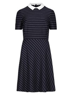 Detachable Collar Pinstriped Skater Dress with StayNEW™ | M&S