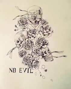My friend asked me to design a tattoo for him, with skulls, roses, and see no evil