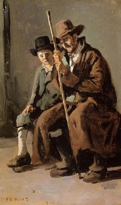 Two Italians, an Old Man and a Young Boy, 1843 by Camille Corot. Realism. portrait. Walters Art Museum, Baltimore, MD, US