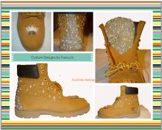 Custom Gold Studs and Ivory Pearl Timberland Boots Crowns Glitter Timberlands, Timberlands Women, Timberlands Shoes, Timberland Boots Women, Custom Boots, Studded Boots, Ivory Pearl, Boots For Sale, Gold Studs