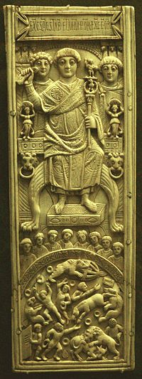 Leaf from an ivory diptych of Areobindus Dagalaiphus Areobindus, consul in Constantinople, 506. Areobindus is shown above, presiding over the games in the Hippodrome, depicted beneath.