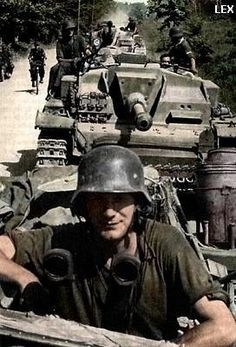 German Sturmgeschütz (assault gun) column in Russia.