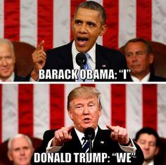 Big difference...Obama Narssicism vs Trump Patriotism