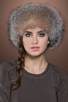 Crystal Fox and Brown Sheared Mink Fur Hat