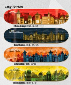 Stereo City Series Deck Design, Design Art, Skateboard Deck Art, Surf Boards, Longboards, Skateboards, Custom Design, Surfing, Creativity
