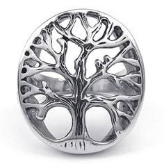 KONOV Mens Stainless Steel Ring, Tree of Life, Silver, Si...