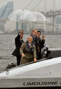 Prince William, Duke of Cambridge stands on the stern of a boat as he tours the Tokyo Bay area, straight from arriving at Tokyo International airport, at the start of his three day visit to Japan on February 26, 2015 in Tokyo, Japan. The Duke of Cambridge is visiting Japan from February 26th to March 1st 2015.