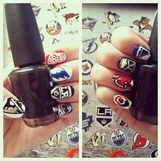 NHL Teams nails - Can someone do those on me? Hockey Room, Women's Hockey, Hockey Stuff, Funky Nails, My Nails, Hockey Nails, Mani Pedi, Manicure, Hockey Party