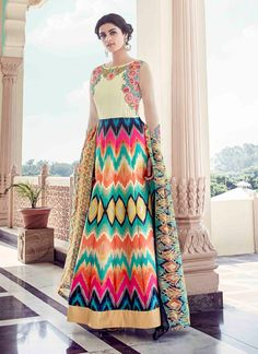 Buy Fine Banglori Silk Anarkali Salwar Kameez in Multi Colour #anarkalisuit #anarkali #anarkalifashion