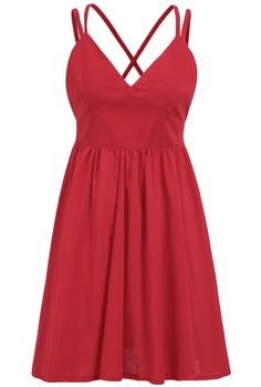 Red Spaghetti Strap Pleated Dress 15.17