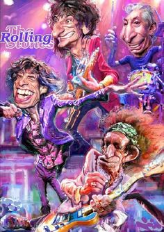 The Rolling Stones caricature Funny Caricatures, Celebrity Caricatures, Celebrity Drawings, Caricature Artist, Caricature Drawing, Charlie Watts, Keith Richards, Heavy Metal, Los Rolling Stones