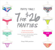 Victoria's Secret - Don't Miss 7 for $26 PINK Panties!
