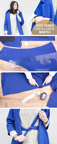 """Nähanleitung: Oversize Übergangsmantel """"Rabea"""" in den Größen 34 bis 46 nähen / diy sewing tutorial: oversize coat via DaWanda.com"""
