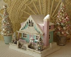 Shabby Putz Lighted House w/ Bottle Brush Trees by IllusiveSwan