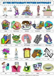 at the restaurant vocabulary pictionary poster worksheet icon