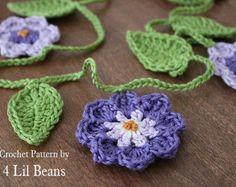 Crochet Pattern: Crochet Flower Garland Home Decor par 4LilBeans