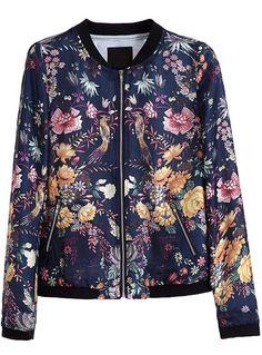 Blue Long Sleeve Zipper Floral Birds Print Jacket - Sheinside.com