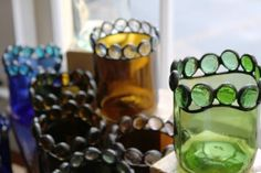 Recycled Half Wine Bottle votive holder available at the Re-inspiration Store