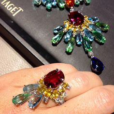 Piaget #ring from the #Rose Passion collection. Crafted with #diamonds, yellow #sapphires, #aquamarines, #tourmaline and #rubellite. The matching #necklace can be seen as well.