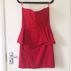 The Kooples Strapless Peplum Dress !!! On vacation until May 22 !!!    Red The Kooples strapless peplum dress in great condition. Size 38, fits like a US 6 / UK 10. Slight discoloration near top of dress (pictured), barely noticeable. Amazing for a night out! Retails at $350 The Kooples Dresses