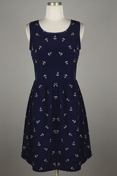 *** New Style *** Girly Sleeveless Sundress in Nautical Scattered Anchor Print with Zipper Back Closure.