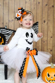 Ghost Halloween White Tutu Costume FREE SHIPPING