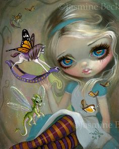 Looking Glass Insects alice in wonderland art print by Jasmine