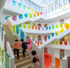 """Colossal on Instagram: """"Take a step inside this magnificently colorful new kindergarten in Tianshui, China designed by architect @keiichiro_sako. More on Colossal,…"""" Kindergarten Interior, Kindergarten Design, Kindergarten Classroom, Steven Holl, Surf, Cladding Materials, Glasgow School Of Art, Classroom Design, World Of Color"""