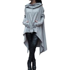 Sweatshirt Women Casual Outwear Hoody Loose Long Sleeve Mantle Cover Pullover Clothes 2018 Solid Color Long Section Hoodies Jolie Lingerie, Hoodie Sweatshirts, Plain Sweatshirts, Bts Hoodie, Casual Winter, Sweat Shirt, Tee Shirt, Long Hoodie, Casual Outfits