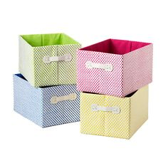 These are the current bins you have in the kids' room - I recommend purchasing more for the babies items. Small Gingham Storage Bin