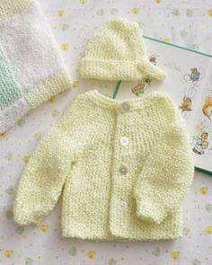 Bernat: Pattern Detail - Baby Coordinates - Preemie Garter Stitch Set (k)