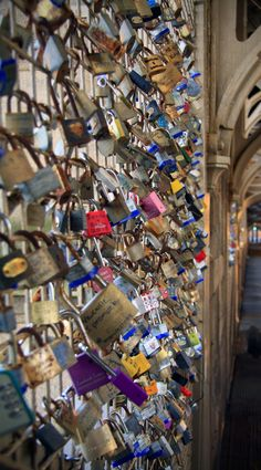Love Locks - Newcastle upon Tyne, Tyne and Wear. England. You write the name of your sweetheart on the lock and then throw the key into the River Tyne below <3