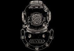 Vintage Deep Sea Diver Helmet Illustration on Dark  Artwork