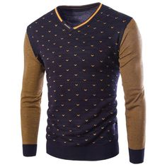 Personality V-Neck Stripes Argyle Intarsia Hit Color Slimming Long Sleeves Men's Cashmere Blend Sweater