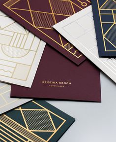 Metallic foiled cards by Kristina Krogh. Collateral Design, Stationary Design, Identity Design, Logo Design, Art Deco Typography, Visiting Card Design, Bussiness Card, Rubicon, Name Cards