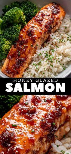 Salmon Recipe Pan, Honey Glazed Salmon Recipe, Seared Salmon Recipes, Healthy Salmon Recipes, Fish Recipes, Seafood Recipes, Cooking Recipes, Pan Seared Salmon, Salmon With Honey Glaze