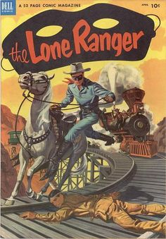 Lone Ranger, Tonto & Young Hawk Stories, 52 Pages, Train Cover E.Nordli Painted Cover T.Gill J. Old Comic Books, Vintage Comic Books, Vintage Comics, Comic Book Covers, Comic Book Heroes, Western Comics, Western Film, Cowboy Western, Tarzan