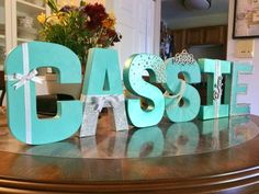 """Breakfast at Tiffany's Letters, Photo Prop, Centerpiece, 8"""" Freestanding Letters, Custom Block Letter, Baby Shower, Bridal Shower, Birthday"""