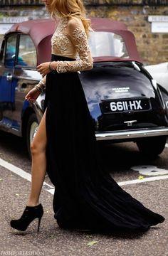 #photoshootinspiration  Long black skirt with a beaded shirt. Classic.