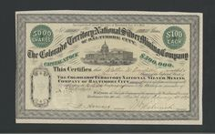 Colorado Territory National Silver Mining Co of Baltimore City