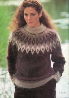 Il est magnifique pour les sports d'hiver Icelandic Sweaters, Wool Sweaters, Sweater Knitting Patterns, Knitting Designs, Harry Potter Knit, Gros Pull Mohair, Special Occasion Outfits, Angora Sweater, Sweater Design