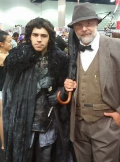 with Jon Snow from Game Of Thrones at LA Anime Expo 2016. Dr Henry Jones Sr from Indiana Jones and the Last Crusade Sean Connery Harrison Ford dad father costume cosplay