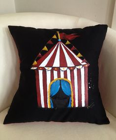 Lets go to the Circus  handpainted  throw pillow by didgedesigns, $65.00