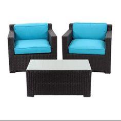 3-Piece Black Resin Wicker Outdoor Patio Furniture Set - Blue Cushions