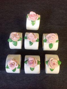 Shabby Chic rosa Vintage servilleteros de cerámica Set de 9
