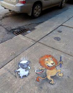 Adventures of David Zinn's Street Art Characters Sluggo & Philomena – Cube Breaker 3d Street Art, Murals Street Art, Best Street Art, Street Art Graffiti, Street Artists, Graffiti Artists, David Zinn, Chalk Artist, 3d Chalk Art