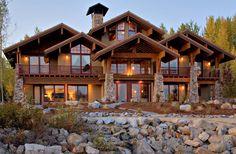 idaho homes exterior design - yahoo Image Search Results Colorado Mountain Homes, Mountain Cabins, Mountain Houses, Mountain View, Cabin Design, House Design, Lake Tahoe Houses, Log Homes Exterior, Exterior Design
