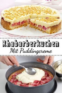 Cream cake with rhubarb - that& how it works- Creme-Kuchen mit Rhabarber – so geht's This is the best cake ever! The creamy pudding layer makes it so irresistible. Baking Recipes, Cake Recipes, Dessert Recipes, Dinner Recipes, Salad Recipes, Breakfast Recipes, Food Cakes, Rhubarb Cake, Gateaux Cake